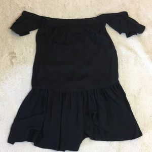 Milly Black Off The Shoulder Flowy Dress